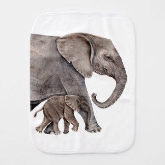 Elephant with Baby Elephant Burp Cloth