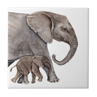 Elephant with Baby Elephant Ceramic Tile