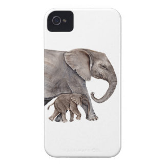 Elephant with Baby Elephant iPhone 4 Case