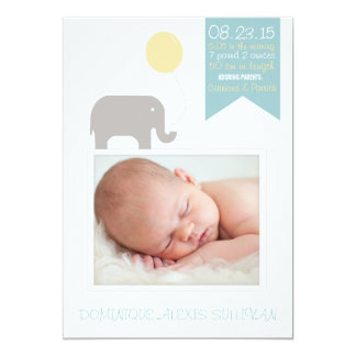 "Elephant with Balloon Photo Birth Announcement 5"" X 7"" Invitation Card"