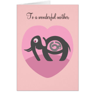 Elephant with calf Valentines Day card