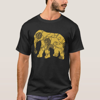 Elephant with Entangled Thread Pattern T-Shirt