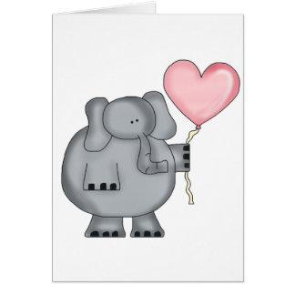 Elephant with Heart Balloon Cards