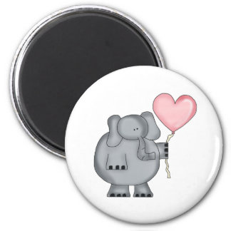 Elephant with Heart Balloon Magnet