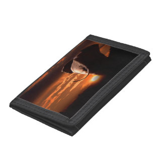 Elephant with Sunset Trifold Wallets
