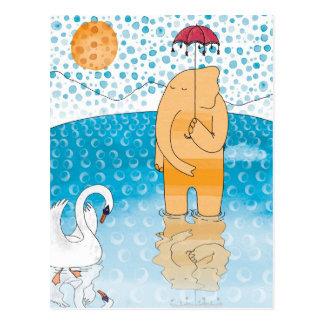Elephant with umbrella postcard
