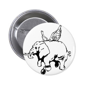 elephant with wings and chain 6 cm round badge