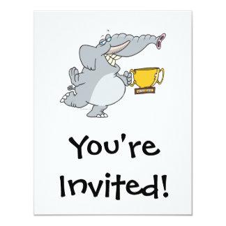 elephant with winner trophy cartoon 11 cm x 14 cm invitation card