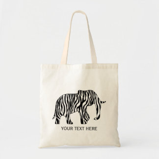 Elephant with Zebra Stripes + your ideas Tote Bag