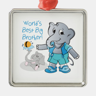 Elephant, World's Best Big Brother Silver-Colored Square Decoration