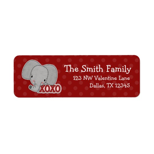 Elephant XOXO Polka Dot Valentine Return Address Return Address Label