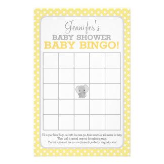 Elephant (yellow) Baby Bingo Flyer