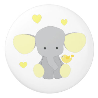 Elephant Yellow Safari Animal Baby Neutral Nursery Ceramic Knob
