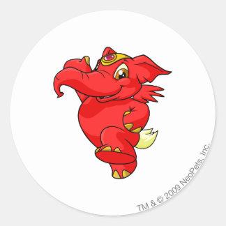 Elephante Red Round Sticker