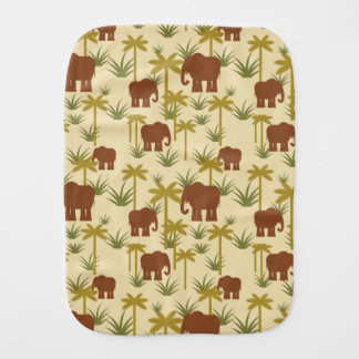 Elephants And Palms In Camouflage Burp Cloth
