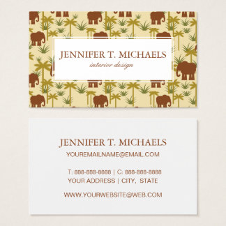Elephants And Palms In Camouflage Business Card