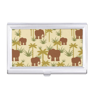 Elephants And Palms In Camouflage Business Card Holders