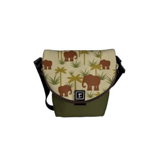 Elephants And Palms In Camouflage Commuter Bag