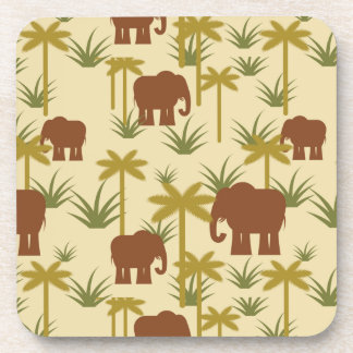 Elephants And Palms In Camouflage Drink Coasters