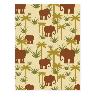 Elephants And Palms In Camouflage Postcard