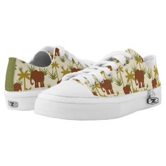 Elephants And Palms In Camouflage Printed Shoes
