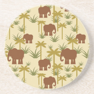 Elephants And Palms In Camouflage Sandstone Coaster