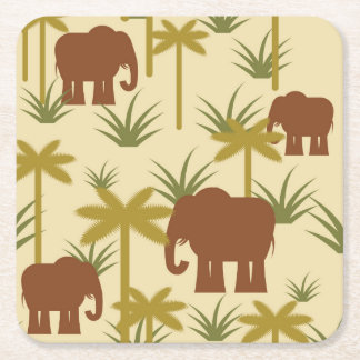 Elephants And Palms In Camouflage Square Paper Coaster