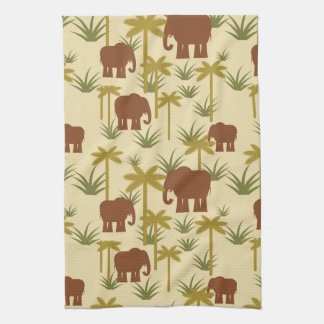 Elephants And Palms In Camouflage Towel