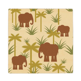 Elephants And Palms In Camouflage Wood Coaster