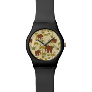 Elephants And Palms In Camouflage Wrist Watch