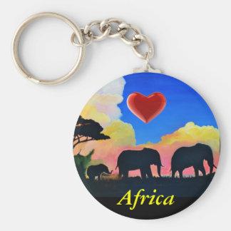 Elephants At Dusk Basic Round Button Key Ring