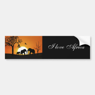 Elephants at sunset bumper sticker