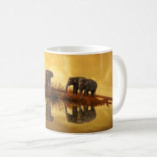 Elephants At Sunset Lake Reflection Coffee Mug