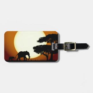 Elephants at sunset luggage tag
