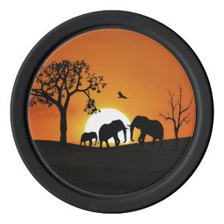 Elephants at sunset poker chips