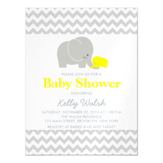 Elephants Baby Shower Invitations Chevron