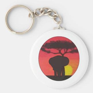 Elephants Basic Round Button Key Ring