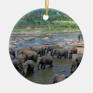 Elephants bathing in river Sri Lanka Ceramic Ornament