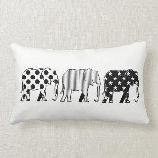 Elephants Black White Cartoon Chess Pattern Chic Lumbar Cushion