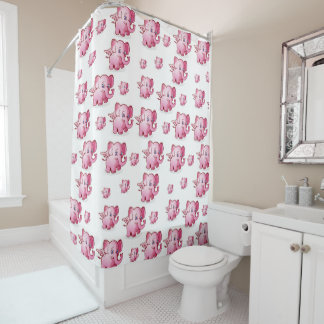 Elephants children's shower curtain