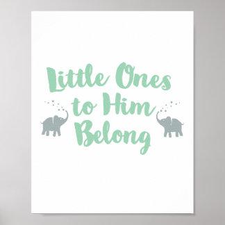 Elephants Christian Nursery Poster | Mint