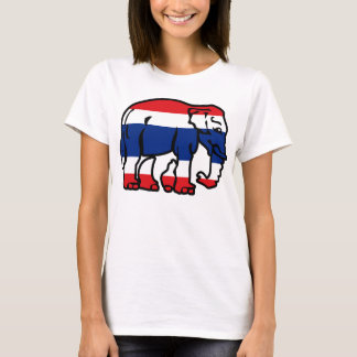 Elephants Crossing Flag ⚠ Thai Road Sign ⚠ T-Shirt