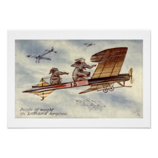 Elephants Flying Plane Wall Art