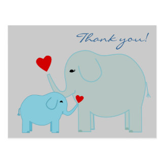 Elephants in Blue Thank You Postcard