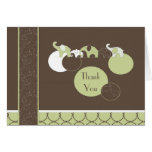 Elephants in Green Thank You Stationery Note Card
