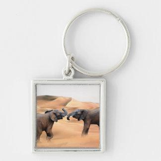Elephants in the desert keychain