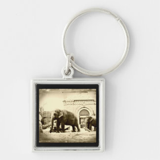 Elephants Silver-Colored Square Key Ring