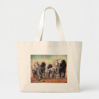 elephants large tote bag