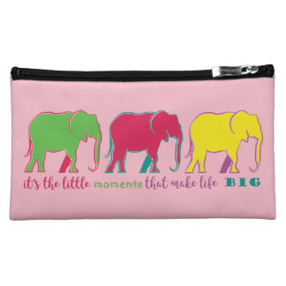 Elephants Neon Silhouettes Colorful Inspiration Makeup Bag