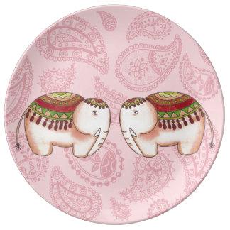 Elephants on pink paisley plate